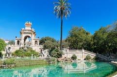 Springbrunn på Parc de la Ciutadella, Barcelona Fotografering för Bildbyråer