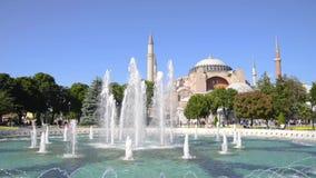 Springbrunn på Sultan Ahmet Square, Istanbul, Turkiet lager videofilmer
