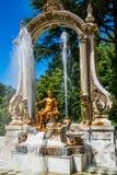 Springbrunn på slottträdgårdar av La Granja de san Ildefons Arkivfoto