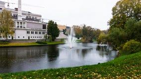 springbrunn Park i stad waterworks riga arkitektur Royaltyfria Bilder