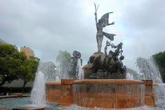 Springbrunn Paseo de la Princesa i gamla San Juan, Puerto Rico. Historisk och touristic gränsmärke. Arkivfoto