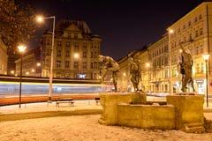 Springbrunn tjeckiska musiker Arkivfoto