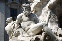 Springbrunn Zeus i Berninis, piazza Navona i Rome, Italien Royaltyfri Bild