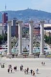 Springbrunnar framme av det nationella museet, Placa De Espanya, Barcelona Arkivbild