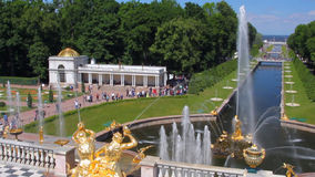 Springbrunnar kanal och parkerar, Peterhof petersburg russia st stock video