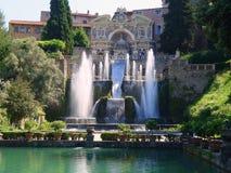 Springbrunnar villa D'Este, Tivoli, Italien Arkivfoto