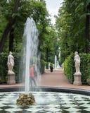 Springbrunnarna av sommarträdgården Helgon Peteburg Arkivbilder
