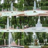 Springbrunnarna av sommarträdgården Helgon Peteburg Arkivfoto