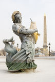 Springbrunn och Obelisk, Paris Arkivfoto