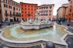 Springbrunnen av Neptun på den Navona fyrkanten i Rome, Italien royaltyfri foto