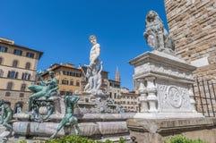 Springbrunnen av Neptun vid Ammannati i Florence, Italien Arkivbilder