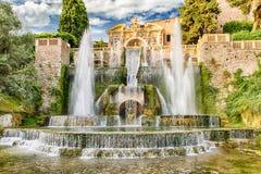 Springbrunnen av Neptun, villad'Este, Tivoli, Italien Arkivbilder
