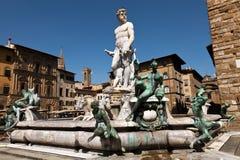 Springbrunnen av Neptune i Florence, Italien Royaltyfri Foto