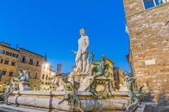 Springbrunnen av Neptune i Florence, Italien Royaltyfria Foton