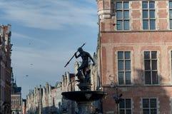 Springbrunnen av neptune i Gdansk Arkivfoto