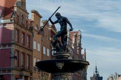 Springbrunnen av neptune i Gdansk Fotografering för Bildbyråer