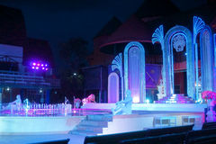 springbrunnen exponerade natt Fotografering för Bildbyråer