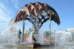Springbrunnen i den Tsvetnoy boulevarden, Tyumen Arkivbild