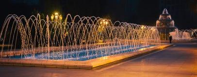 Springbrunnen i natt parkerar Arkivbild