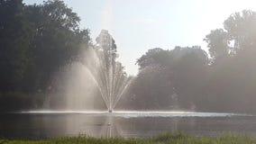 Springbrunnen i Vondel parkerar i Amsterdam arkivfilmer