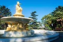 Springbrunnen med gudinnan av navigering i havsporten av S Arkivfoto