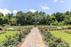 Springbrunnen på offentligt parkerar i Bellingraths trädgårdar Arkivbild