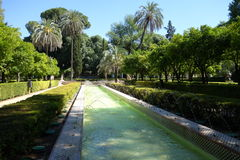 Springbrunnen parkerar in Maria Luisa Park, Seville Arkivfoton