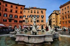 springbrunnnavonaneptune piazza s Royaltyfri Foto