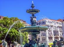 SpringbrunnRossio fyrkant Lissabon Portugal Arkivbild