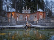 SpringbrunnSchloss Hellbrunn slott, Salzburg Royaltyfria Bilder