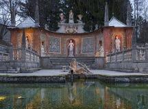 SpringbrunnSchloss Hellbrunn slott, Salzburg Arkivbild