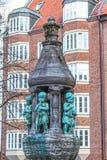 Springbrunnstaty i Bremen, Tyskland Arkivbild