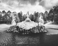 Springbrunnvattenskärm med gamla statyer i svartvitt arkivfoto