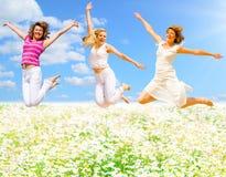 Springen über Blumenfeld Stockbilder