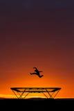 Springen auf Trampoline im Sonnenuntergang Stockfotografie