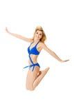 Springen der jungen Frau Lizenzfreies Stockfoto