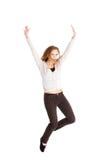 Springen der jungen Frau in voller Länge Stockfotos