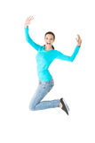 Springen der jungen Frau in voller Länge Stockfotografie