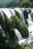 Springen des Strbacki Buk Wasserfalls Lizenzfreies Stockbild