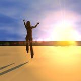 Springen für Freude am Sonnenaufgang lizenzfreie abbildung