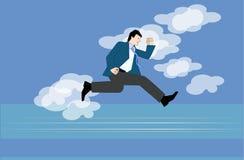 Springen in Himmel lizenzfreie abbildung