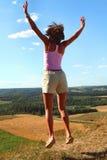 Springen Sie in das Land Stockfoto