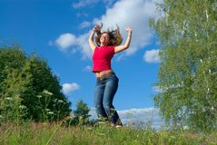 Springen Sie in den Himmel (Reihen) stockfotografie