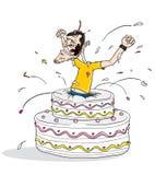 Springen Sie Geburtstagkuchen heraus Lizenzfreies Stockfoto