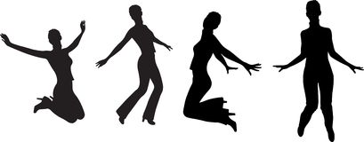 Springen Sie Mädchenschattenbildvektor Stockbild