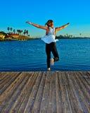 Springen weg vom Dock Stockbilder