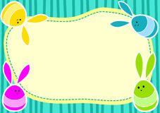 Springend Bunny Eggs Invitation Card Royalty-vrije Stock Afbeelding