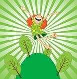 Springend groen meisje Royalty-vrije Stock Foto's
