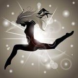 Springend Meisje met Gouden bezinningen Stock Foto's