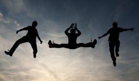 Springend silhouet Stock Afbeeldingen